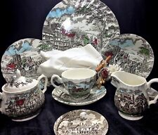 Vintage Myott Royal Mail Staffordshire England Colored Service for10 with Teapot