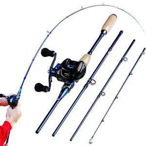 2.1-2.4M Fishing Rod Reel Combo 4 Sections Carbon Fiber 7.0:1 High Speed Reel