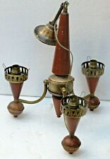 Vintage Ceiling chandelier 3 head light Bulb holder wood Brass stand classic