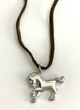 "Lia Sophia ""Giddy"" Brown Suede Cord Necklace w/ Silver Pony Horse Pendant 15-18"""