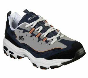 Navy Orange Shoes D'Lites Sneaker Mens 52675 Skechers Memory Foam Leather Casual