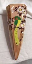 "Art Deco Vintage 7"" Gold  Lusterware Bird & Flowers Wall Pocket Sconce-Japan"