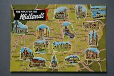 R&L Postcard: Map Card, ETW Dennis, Heart of the Midlands, Coventry/Northampton