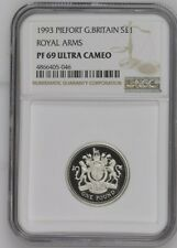More details for 1993 great britain silver proof £1 royal arms pf69uc thick holder