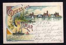 108288 AK Wismar 1897 Litho Gruss aus Wismar mit Schiff Verlag Bremer