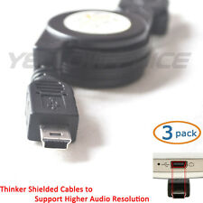USB 2.0 A to Mini-USB B 5-Pin Retractable Cable