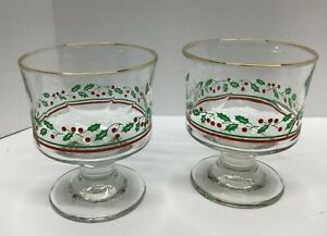 Arby's Libbey Christmas Collection Holly and Berries Compote - set of 2