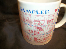 Mug cup Basket Sampler A to Z lettering colonial design coffee tea collector art
