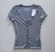 NWT HOLLISTER Abercrombie Striped Henley Button Down Lettuce Shirt Top Blouse M