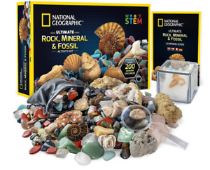 NATIONAL GEOGRAPHIC Rocks & Fossils Kit 200 Piece Set Includes Geode