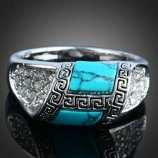 beautiful Fashion White gold plated Pretty cute women Turquoise crystal Ring