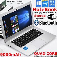 """Quad Core 14"""" Inch Laptop 32GB eMMC 2GB RAM 1.92Ghz Intel Notebook PC Windows 10"""
