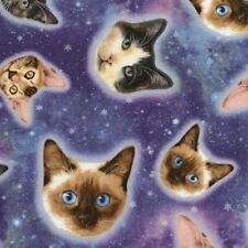 Fat Quarter Galaxy Cats, Space, Star, Cosmos, 100% Cotton Quilting Fabric