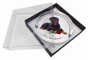 Rottweiler+Rose 'Love You Mum' Glass Paperweight in Gift Box Chris, AD-RW3RlymPW