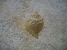 Kenneth Jay Lane Brilliant Goldtone Pendant or Pin Shell with Clear Crystals