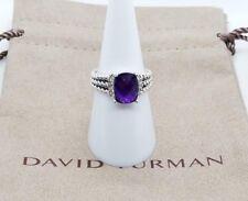 David Yurman Petite Wheaton Ring with Amethyst and Diamonds Sz 7- Authentic