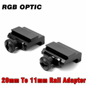 RGB 2pc Low 20mm Picatinny to 11mm Dovetail Rifle Scope Mount Ring Rail Adaptor