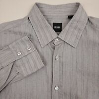 Hugo Boss Men's Button Up Shirt Long Sleeve Size Large Cotton Solid Gray