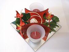 Glasdeko mit Blumen in ROT für 2 Teelichter Kerzen Teelicht Deko Licht