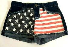 Justice Girls Size 12 Regular Denim Shorts Sequin Stars & Stripes Flag