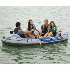 Intex Excursion 4-Person Inflatable Raft + Aluminum Oars High Output Pump Boat