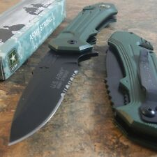 OFFICIAL US ARMY Linerlock A/O MILITARY TACTICAL GREEN SERRATED Pocket Knife NEW