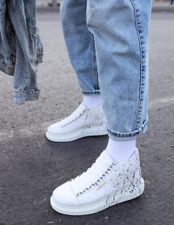 Artificial leather hand painted sneakers for men