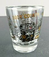Vtg Door County Wisconsin Gold Black Design Shot Glass Barware Souvenir 2.25""