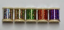 5 SPOOLS OF DANVILLE HOLOGRAPHIC TINSEL 20 YDS. SIZE 14 FOR FLY & JIG TYING