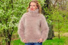 ♕ SUPERTANYA ♕ BEIGE Hand Knit Mohair Sweater FUZZY Turtleneck jumper SALE