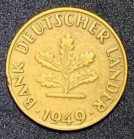 1949 F Germany 10 Pfennig #103 Brass Clad Steel  (865)