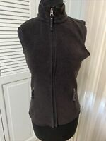 Old Navy Women Sm Full Zip Fleece Sleeveless Sweater Vest Jacket Pockets Black