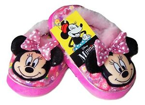 MINNIE MOUSE Plush Slippers w/ Polka Dot Bow NWT Toddler's Size 5-6, 7-8 or 9-10