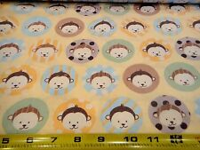 Baby Monkey Faces Dots Allover Pastel Yellow Cotton Fabric BTY