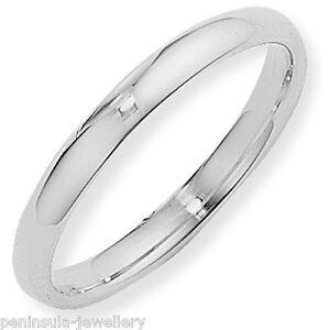 Argentium Silver Court Ring 3mm Wedding Band Size S Full UK Hallmarks
