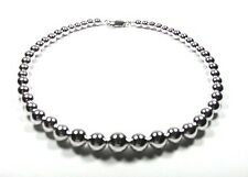 Large Bead Graduated Sterling Silver Bead Necklace 16""