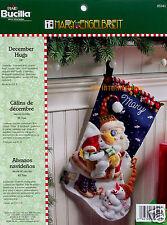 """Bucilla December Hugs ~ 18"""" Felt Christmas Stocking Kit #85341 Santa, Snowmen"""