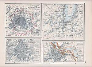 1931 MAP ~ ENVIRONS PARIS DEPARTMENT OF SEINE GENEVA AMSTERDAM BRUSSELS
