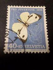 SUISSE 1956, timbre 585, PAPILLON INSECTE, PIERIDE oblitéré BUTTERFLY, used
