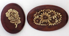 2 Vintage Flower Brooches, Wood Base Molded Celluloid Flowers