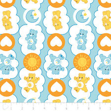 Care Bears Funshine Heart Bedtime Blue Camelot 100% cotton fabric by the yard