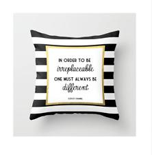 Coco Quote Black White Stripes Fashion Cushion Cover Pillow Case 45x45