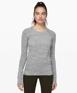 Lululemon Sz 6 Swiftly Tech Long Sleeve 2.0 Wee Are From Space White Black, GUC