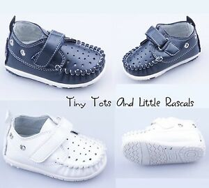Boys Moccasins First Pram Shoes Occasion Party Leather Insole Size UK 1 - 4