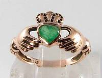 LOVELY 9K 9CT ROSE GOLD COLOMBIAN EMERALD CLADDAGH ART DECO INS RING