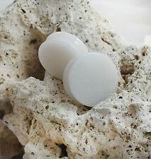 Pair of White Jade Organic Double Flared Polished Stone Ear Plugs Gauges 8-35mm