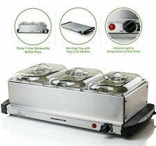 Electric Triple Buffet Server Mini Food Cheese Fondue Warmer Hot Tray Kitchen