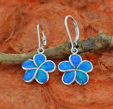 Blue Opal Plumeria Earrings,Silver,Drop,Flower,Hawaiian,Fire Opal,Girl's Fashion