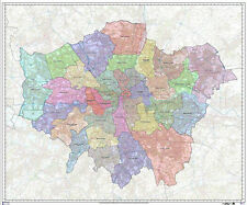 Large Greater London Authority Boroughs Administration Map - Face Laminated