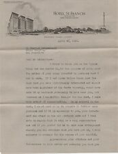 1920s Letterhead & Letter from the Hotel St Francis San Francisco CA